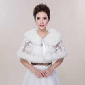 Winter White Lace Faux Fur Wedding Prom Shawls 2017