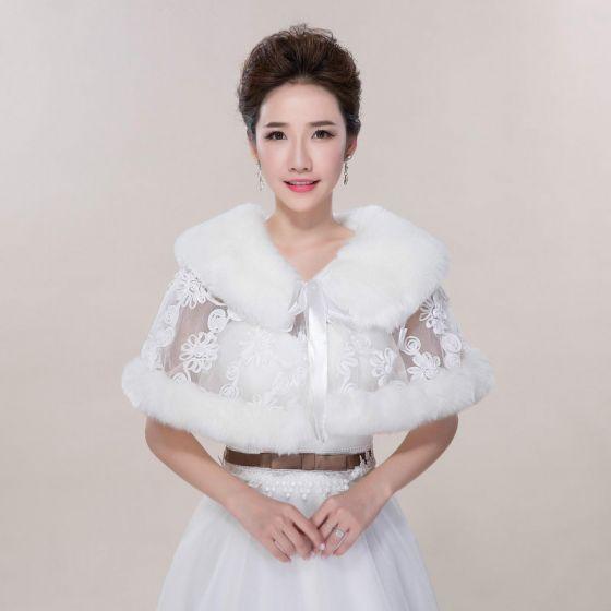 Winter White Lace Faux Fur Wedding Prom Shawls 2017