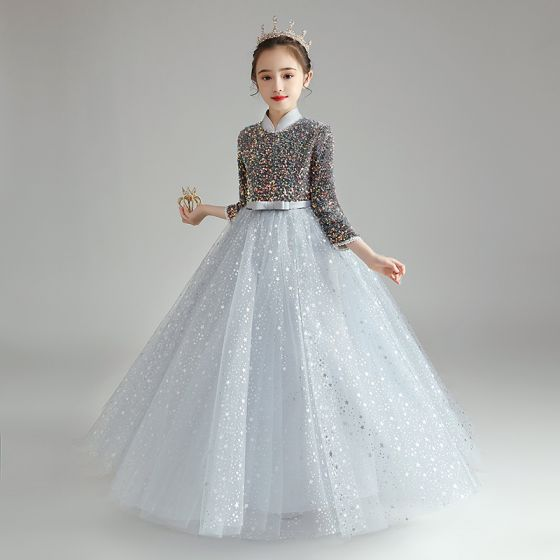 Sparkly Grey Birthday Flower Girl Dresses 2021 Ball Gown High Neck 3/4 Sleeve Bow Sash Star Sequins Floor-Length / Long Ruffle