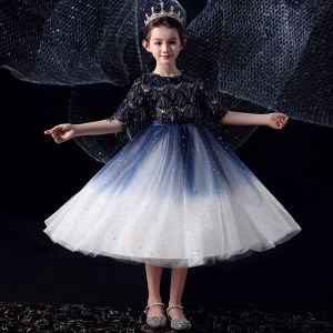 Chic / Beautiful Royal Blue Gradient-Color White Birthday Flower Girl Dresses 2020 Ball Gown Scoop Neck 1/2 Sleeves Bow Sash Sequins Tassel Tea-length Ruffle