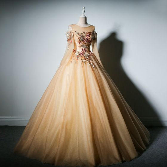 Chic / Beautiful Champagne Prom Dresses 2019 A-Line / Princess Scoop Neck Long Sleeve Embroidered Flower Pearl Floor-Length / Long Backless Formal Dresses