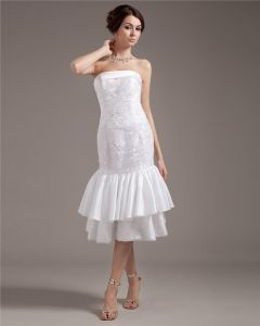 Strapless Applique Sleeveless Zipper Draped Hem Tea Length Woman Wedding Dresses
