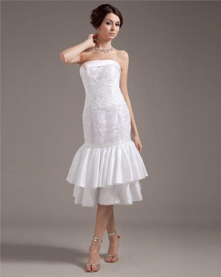 Strapless Applique Sleeveless Zipper Draped Hem Tea Length Woman Wedding Dresses