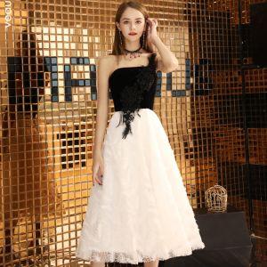 Chic / Beautiful Black Evening Dresses  2019 A-Line / Princess One-Shoulder Lace Suede Sleeveless Backless Tea-length Formal Dresses