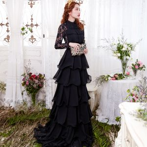 Chic / Beautiful Black Evening Dresses  2017 A-Line / Princess Lace Cascading Ruffles Scoop Neck Long Sleeve Sweep Train Formal Dresses