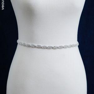 Klassieke Elegante Witte Huwelijk Sjerp 2020 Metaal Satijn Handgemaakt Kralen Rhinestone Avond Gala Accessoires