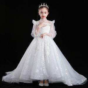 Wiktoriański Styl Białe Przezroczyste Sukienki Dla Dziewczynek 2020 Suknia Balowa Wysokiej Szyi Bufiasta Długie Rękawy Aplikacje Z Koronki Cekiny Frezowanie Trenem Sweep Wzburzyć