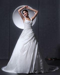 Taft Tyll Volang Applikationer Baldric Kapell A-linje Brudklänningar Bröllopsklänningar