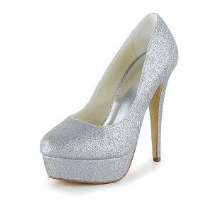Glitter Zilveren Bruidsschoenen Stilettos Plateau Pumps