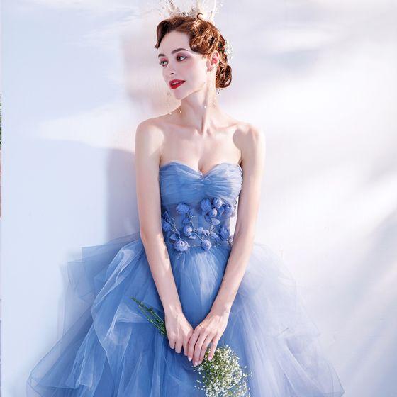 Elegant Ocean Blue Dancing Prom Dresses 2020 Ball Gown Sweetheart Sleeveless Appliques Flower Beading Floor-Length / Long Ruffle Backless Formal Dresses