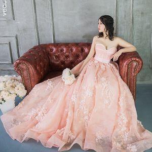 Élégant Perle Rose Robe De Bal 2018 Princesse Perle Appliques Amoureux Dos Nu Sans Manches Chapel Train Robe De Ceremonie