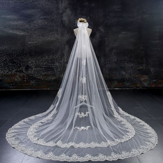 Wedding Veils White Tulle Lace Elegant 2017 Lace Sequins Appliques Embroidered