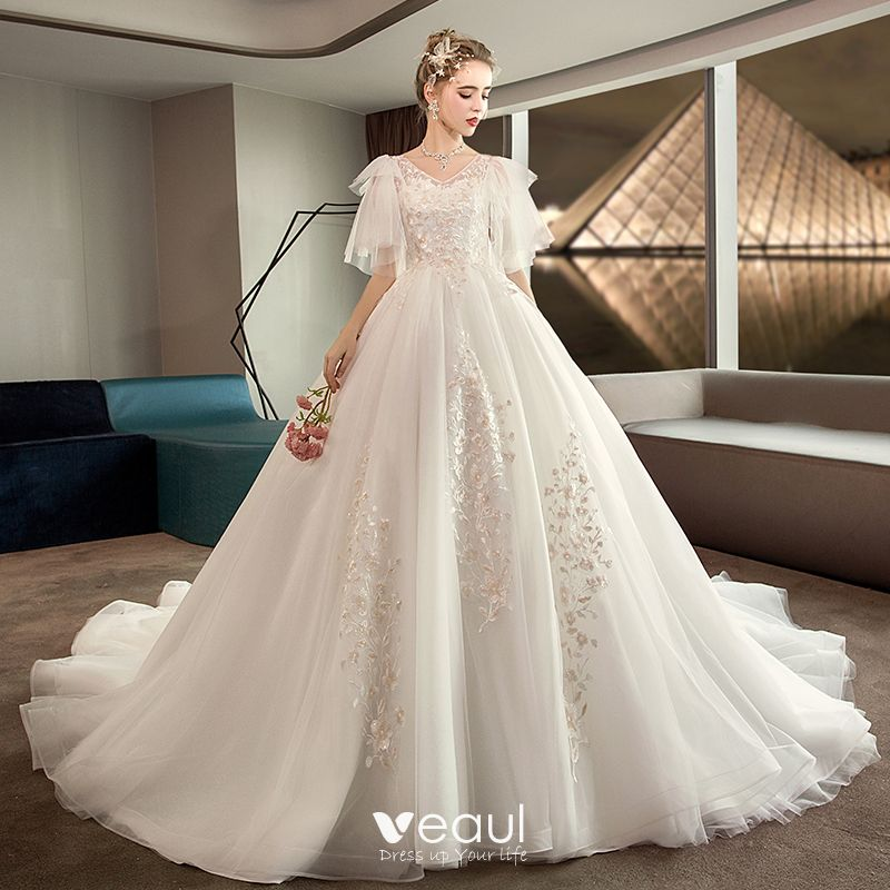 Drop Sleeve Wedding Gowns With: Chic / Beautiful Plus Size Ivory Pregnant Wedding Dresses
