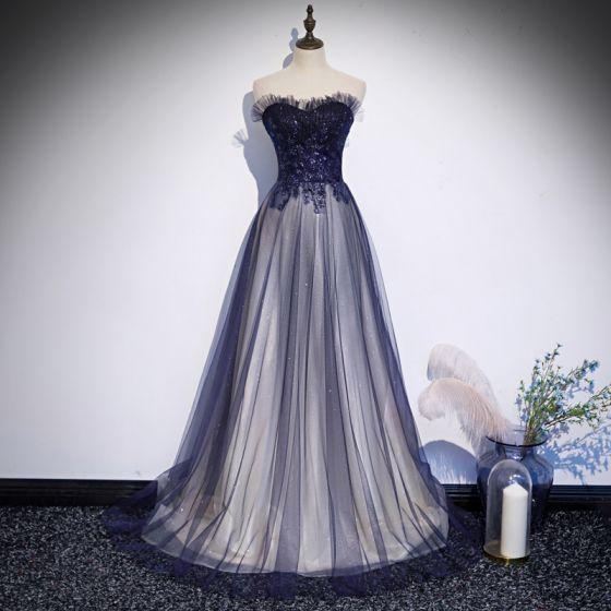 Chic / Beautiful Royal Blue Prom Dresses 2020 A-Line / Princess Sweetheart Sleeveless Beading Glitter Tulle Sweep Train Ruffle Backless Formal Dresses