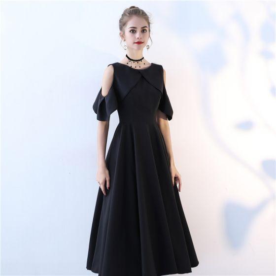 Hermoso Negro de fiesta Vestidos de graduación 2017 A-Line / Princess Scoop Escote Sin Tirantes Sin Mangas Té De Longitud Vestidos Formales