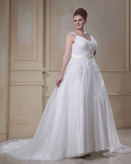 Applique Beading Yarn V Neck Court Plus Size Bridal Gown Wedding Dresses