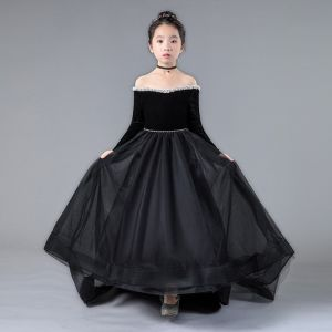 Chic / Beautiful Black Birthday Flower Girl Dresses 2020 A-Line / Princess Off-The-Shoulder Long Sleeve Backless Pearl Sweep Train Ruffle
