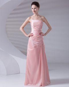 Strapless Plissiert Taft Frau Abend Partykleid