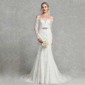 Modern / Fashion White Wedding Dresses 2020 Trumpet / Mermaid Off-The-Shoulder Long Sleeve Embroidered Handmade  Sweep Train Wedding
