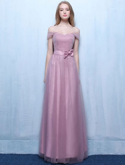 Beautiful Bridesmaid Dresses 2016 Off The Shoulder Pleated Lilac Tulle Long Wedding Party Dress