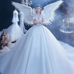 Stunning White See-through Wedding Dresses 2020 Ball Gown Scoop Neck Short Sleeve Backless Appliques Lace Beading Cathedral Train Ruffle