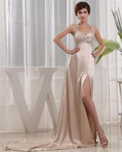 Halter Zipper Sleeveless Floor Length Beading Satin Woman Prom Dress