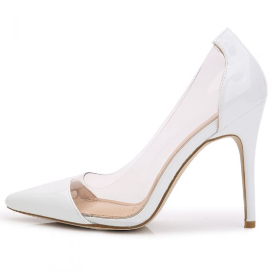 Chic / Beautiful White Evening Party Pumps 2020 Leather 10 cm Stiletto Heels Pointed Toe Pumps