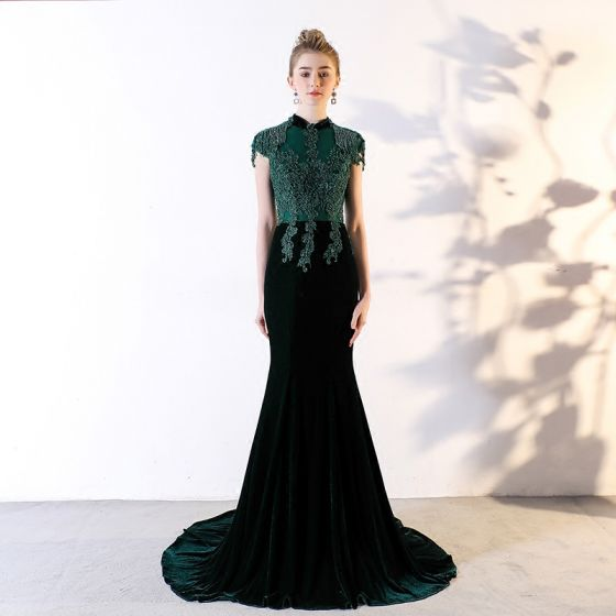 Chic / Beautiful Dark Green Evening Dresses  2018 Trumpet / Mermaid Lace Appliques Beading Crystal Scoop Neck Backless Short Sleeve Court Train Formal Dresses