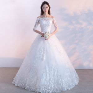 Affordable Modest / Simple Outdoor / Garden Wedding Dresses 2017 Lace Appliques Backless 3/4 Sleeve Off-The-Shoulder Floor-Length / Long White Ball Gown