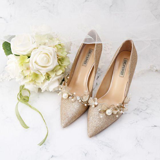 Mode Guld Brudskor 2019 Läder Pärla Appliqués Rhinestone Paljetter 9 cm Stilettklackar Spetsiga Bröllop Pumps