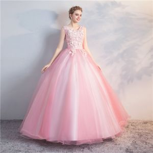 Elegant Candy Pink Quinceañera Prom Dresses 2018 Ball Gown Appliques Pearl Scoop Neck Backless Sleeveless Floor-Length / Long Formal Dresses