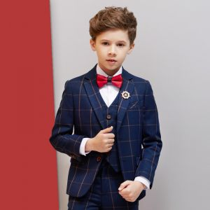 Navy Blue Checked Boys Wedding Suits 2019