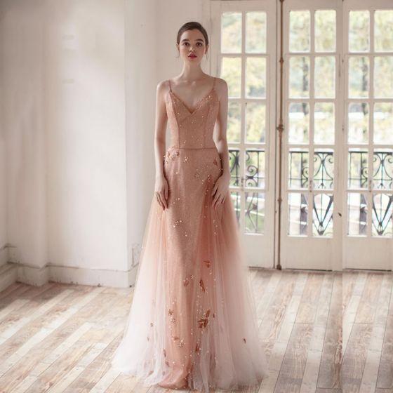 5bbf89e3834 Fabulous Champagne Gradient-Color Evening Dresses 2019 A-Line   Princess  Spaghetti Straps Deep V-Neck Sleeveless ...
