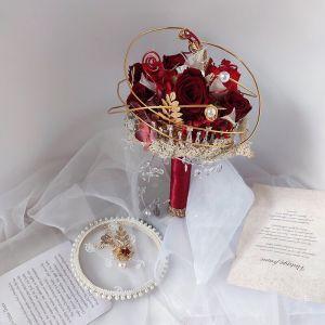 Chic / Beautiful Burgundy Accessories 2020 Metal Handmade  Tulle Beading Flower Pearl Rhinestone Bridal Wedding Wedding Flowers