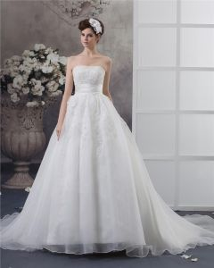 Strapless Beading Floor Length Satin Ball Gown Wedding Dress