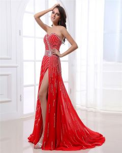 Sweetheart Sleeveless Zipper Floor Length Beading Chiffon Woman Prom Dress