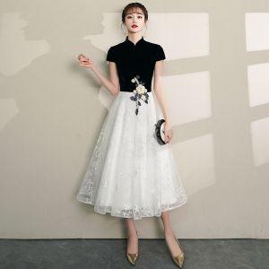Chinesischer Stil Schwarz Heimkehr Abiballkleider 2019 A Linie Stehkragen Spitze Blumen Star Kurze Ärmel Wadenlang Festliche Kleider