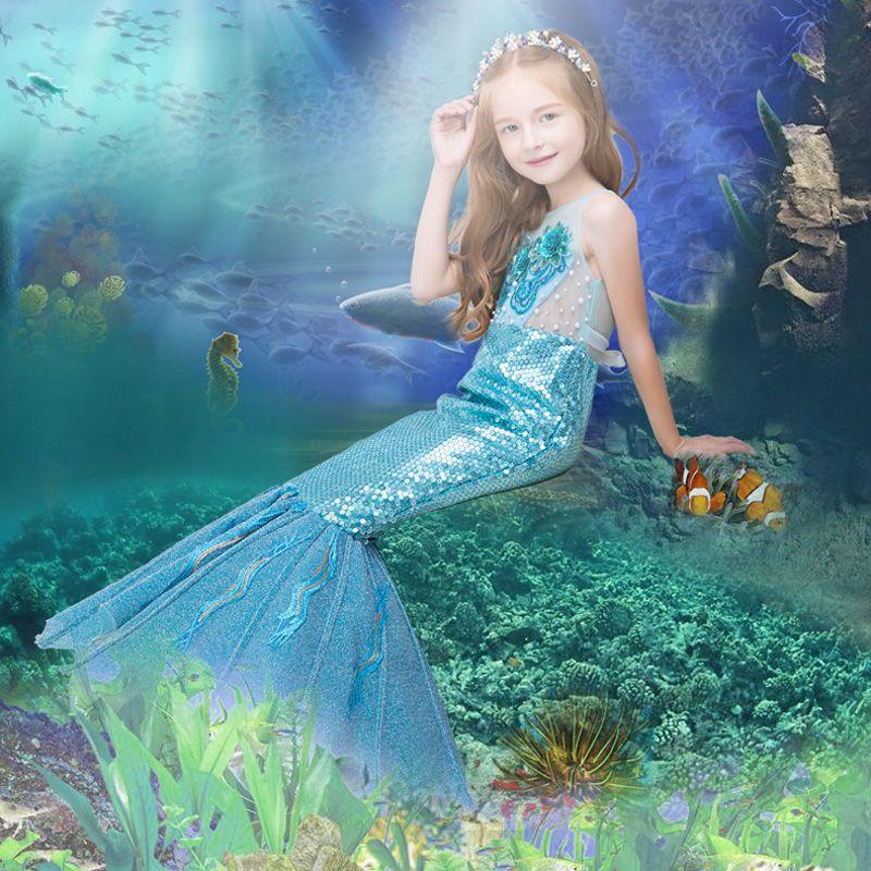 Amazing / Unique Hall Wedding Party Dresses 2017 Flower Girl Dresses Pool Blue Sequins Trumpet / Mermaid Glitter Floor-Length / Long Sash Scoop Neck Sleeveless Backless Flower Appliques Pearl