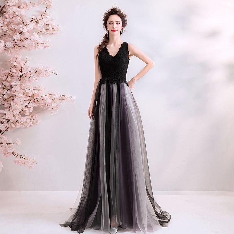 Chic / Beautiful Black Evening Dresses  2019 A-Line / Princess V-Neck Lace Flower Buttons Sleeveless Floor-Length / Long Formal Dresses