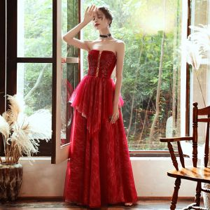 Chic / Beautiful Red Lace Evening Dresses  2020 A-Line / Princess Sweetheart Sleeveless Beading Sequins Floor-Length / Long Backless Formal Dresses