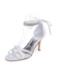 Strappy Wedding Sandals With Rhinestone Ankle Strap Stiletto Heels Peep Toe Bridal Shoes