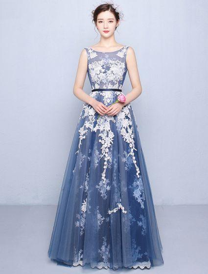 Beautiful Prom Dresses 2016 A-line Scoop Neck Applique Lace Navy ...