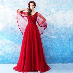 Chic / Beautiful Red Evening Dresses  2018 A-Line / Princess V-Neck Tulle Appliques Backless Beading Evening Party Formal Dresses