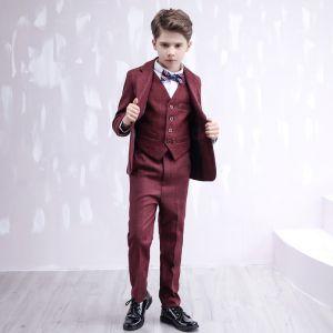 Fashion Long Sleeve Coat Burgundy Checked Boys Wedding Suits 2020