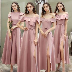 Betaalbare Blozen Roze Bruidsmeisjes Jurken 2020 A lijn Korte Mouwen Gordel Split Voorzijde Enkellange