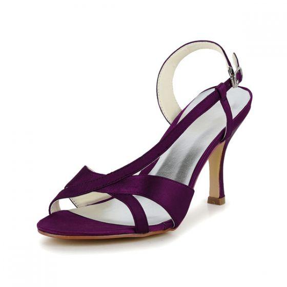 Con Tacones Color Glamorosas De Tiras Hebilla Sandalias La Zapatos Aguja Púrpura Formales OmN80wnv