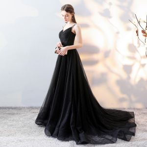 Elegant Black Evening Dresses  2018 A-Line / Princess Spaghetti Straps Backless Sleeveless Court Train Formal Dresses