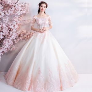Affordable Champagne Pearl Pink Floor-Length / Long White Wedding Dresses 2018 Tulle Lace Appliques Backless Beading Corset Strapless Ball Gown Wedding