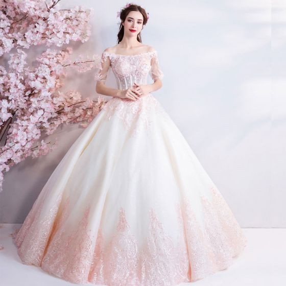 Wedding Gowns In Pink: Affordable Champagne Pearl Pink Floor-Length / Long White