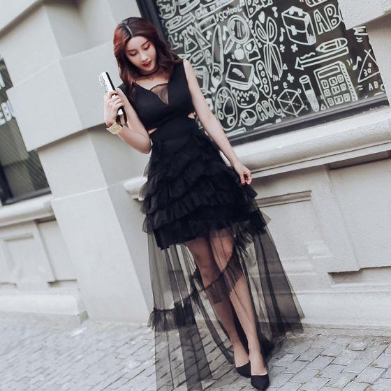 Mode Schwarz Durchsichtige Sommer Abendkleider 2018 A Linie V-Ausschnitt Ärmellos Lange Rüschen Rückenfreies Festliche Kleider